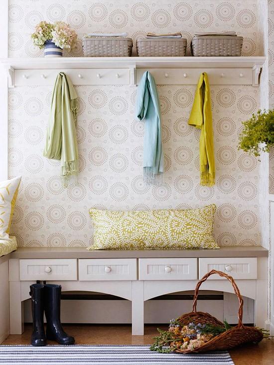 entrance-mudroom-bench-hooks-wallpaper-bhg
